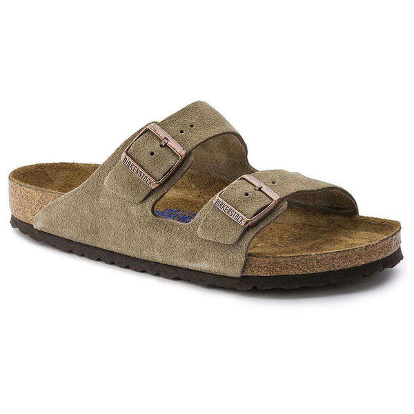 Sandals - Arizona Sandal In Taupe Suede Leather With Soft Footbed By Birkenstock