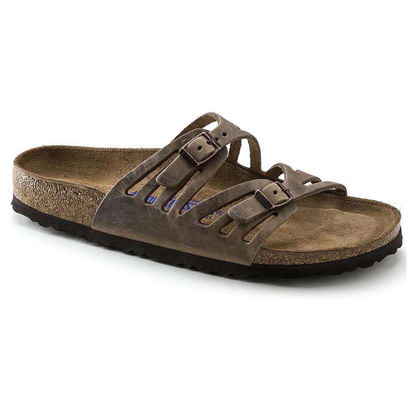 Sandals - Granada Sandal In Tobacco Brown Oiled Leather With Soft Footbed By Birkenstock