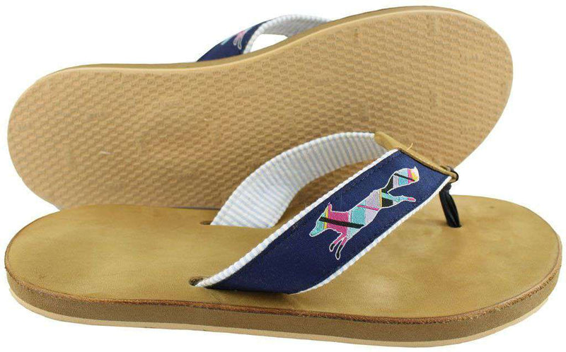 "Sandals - ""Longshanks"" Leather Sandal In Navy By Country Club Prep"