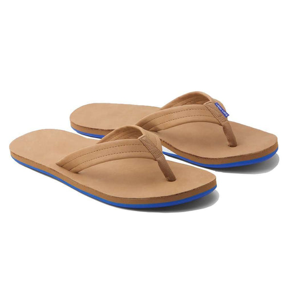 Sandals - Men's Fields Flip Flop In Tan, White & Blue By Hari Mari