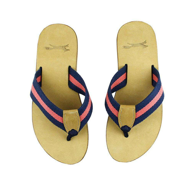 Sandals - Navy And Red Surcingle Leather Sandal By Country Club Prep - FINAL SALE