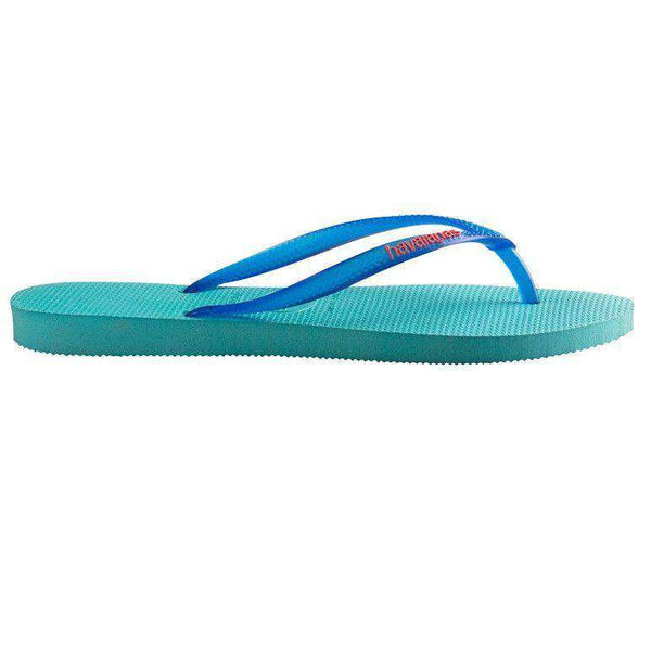 Slim Logo Pop-Up Sandals in Pool Green by Havaianas - FINAL SALE