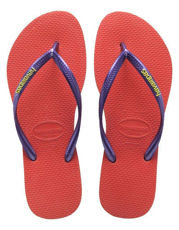 Sandals - Slim Logo Pop-Up Sandals In Salmon By Havaianas - FINAL SALE