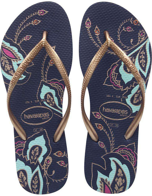 Sandals - Slim Thematic Sandals In Navy Blue By Havaianas - FINAL SALE