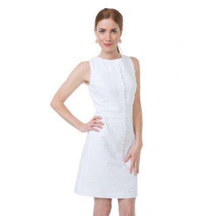 Scallop Dress in White Seersucker by Southern Proper  - 1