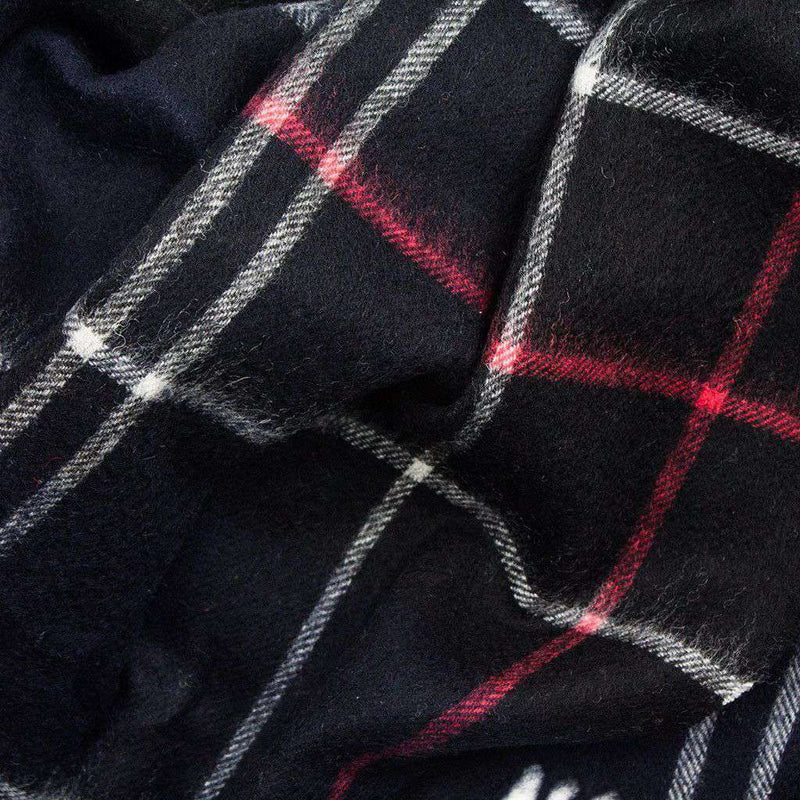 Easton Tartan Scarf in Navy and Red by Barbour
