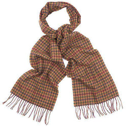 Houghton Check Scarf in Dark Camel Shepherd by Barbour - FINAL SALE