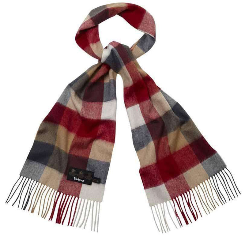 Scarves - Large Tattersal Linen And Wool Scarf In Camel And Red By Barbour