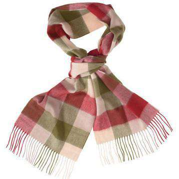 Large Tattersall Linen and Wool Scarf in Olive and Burgundy by Barbour