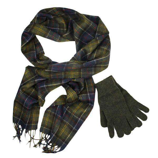 Scarf and Gloves Gift Box in Classic/Olive by Barbour
