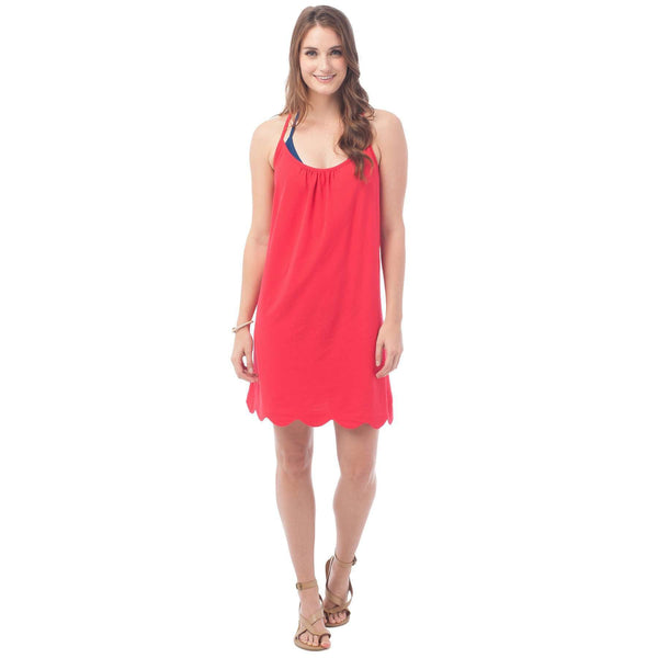 Sea Breeze Scallop Sundress in Channel Marker Red by Southern Tide  - 1