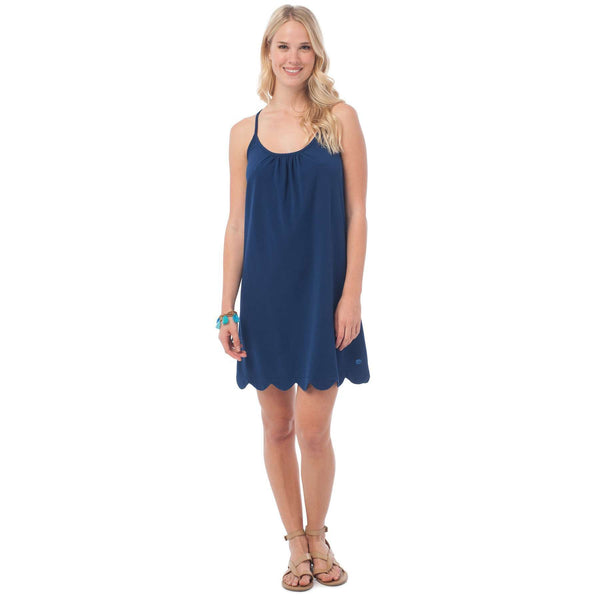 Sea Breeze Scallop Sundress in Yacht Blue by Southern Tide  - 1