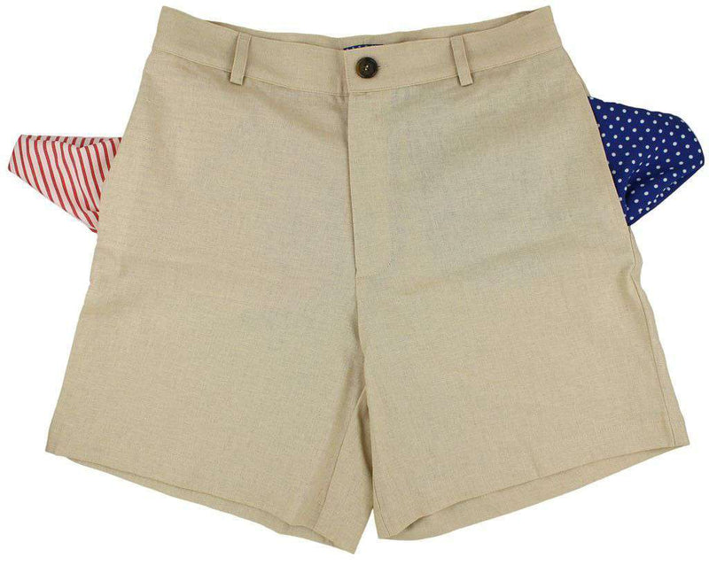Shorts - Freedom Shorts In Omaha Khaki Linen By Blankenship Dry Goods - FINAL SALE