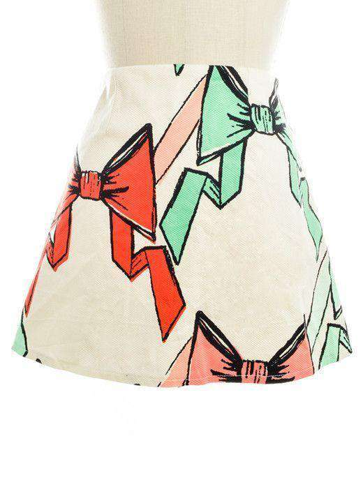 Skirts - Bow Print Pique Skirt By Judith March - FINAL SALE
