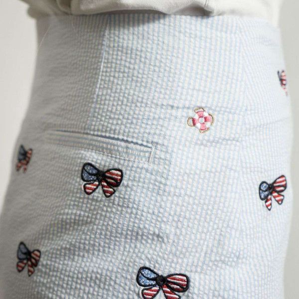 Cocktail Skirt in Blue Seeresucker with Embroidered American Flag Bows by Castaway Clothing - FINAL SALE