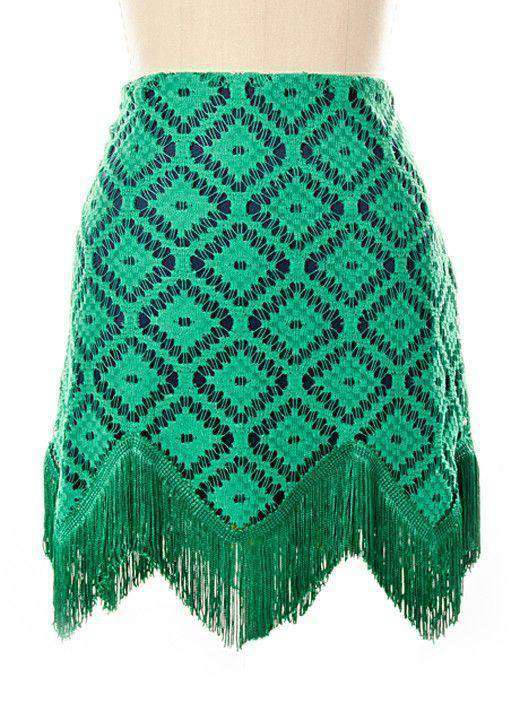 Skirts - Diamond Crochet Skirt In Green By Judith March - FINAL SALE