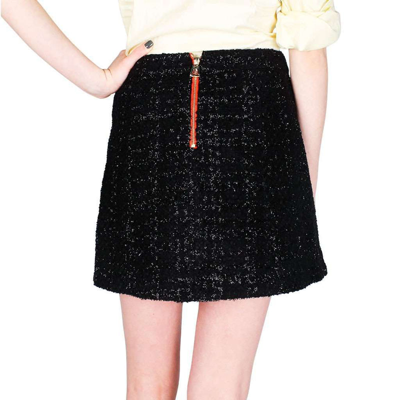 Seasonal Black Wool Tweed Skirt with Fringe Detail by Sail to Sable - FINAL SALE