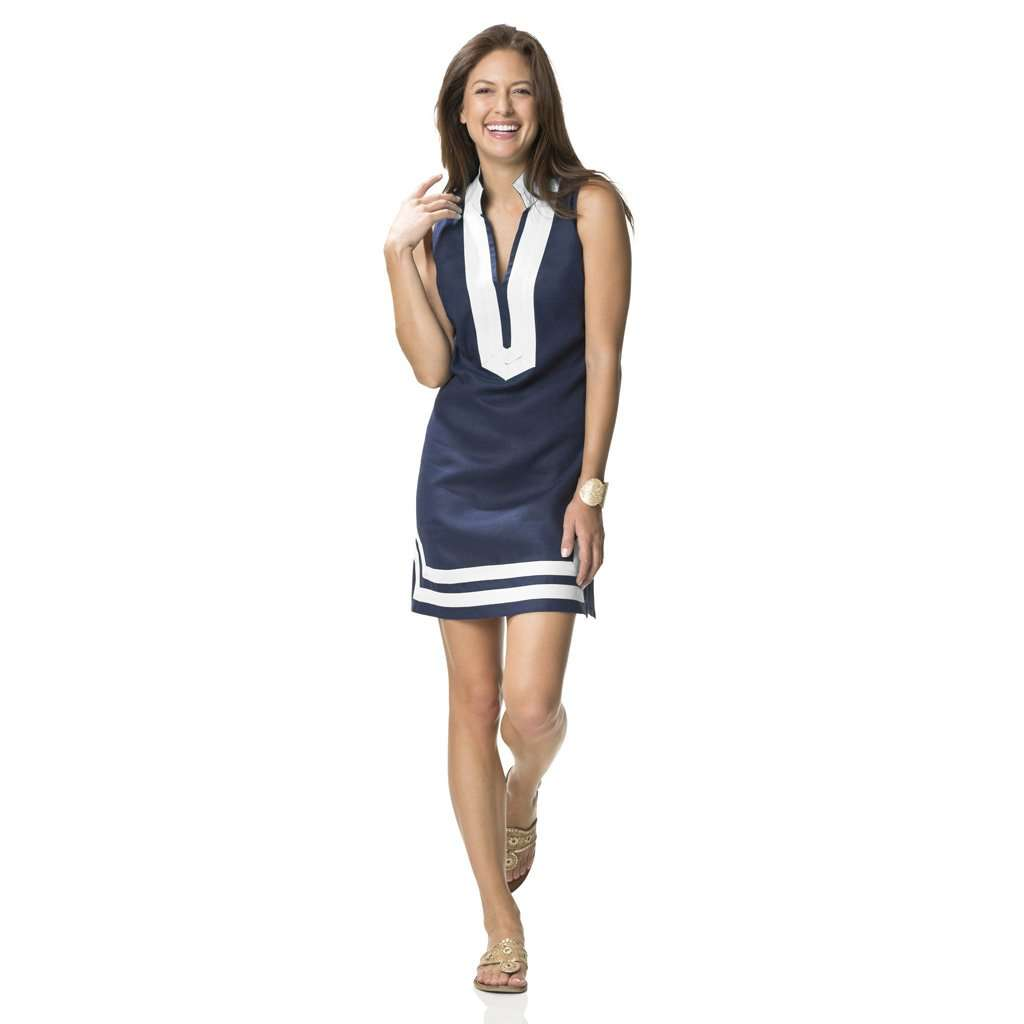 df182f4601 Sail to Sable The Classic Sleeveless Dress in Peacoat Navy and White –  Country Club Prep