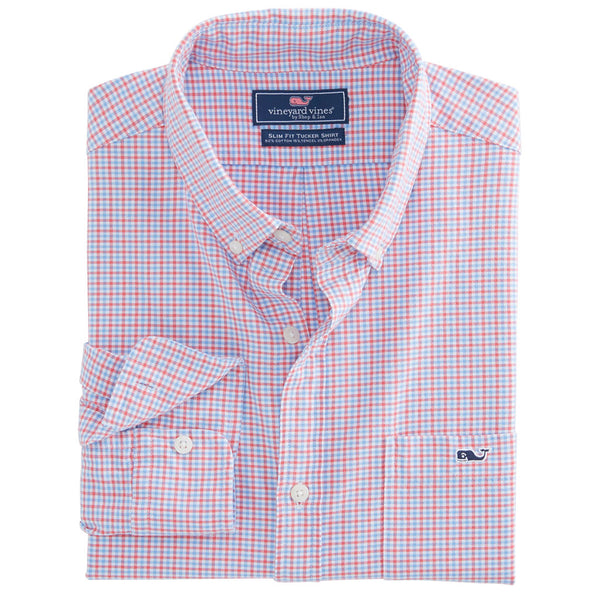 Belle Haven Plaid Slim Tucker Shirt in Sailors Red by Vineyard Vines
