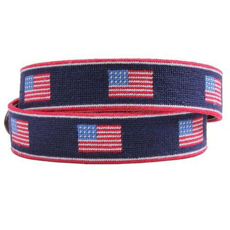 American Flag Stripe Needlepoint Belt by Smathers & Branson