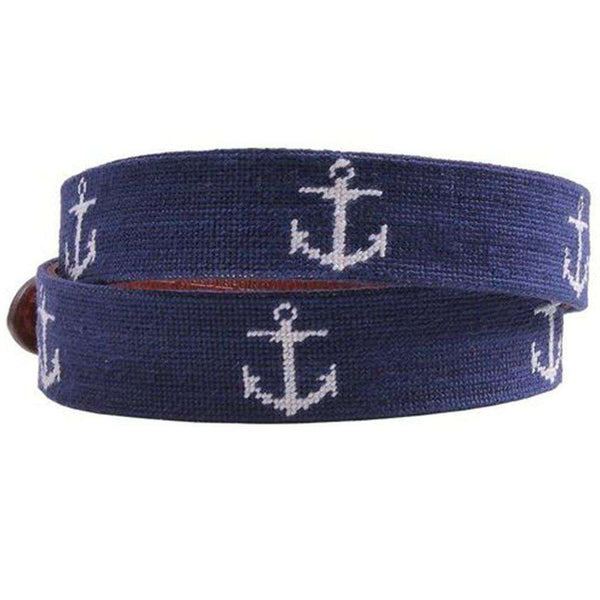 Anchor Needlepoint Belt in Dark Navy by Smathers & Branson