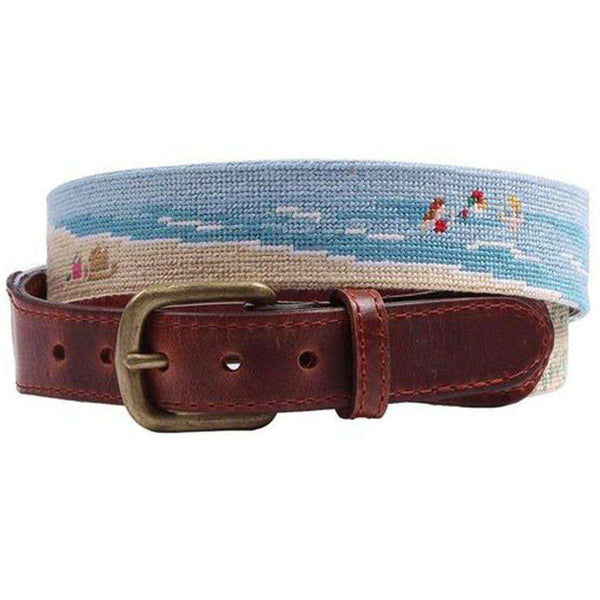 Beach Scene Needlepoint Belt by Smathers & Branson