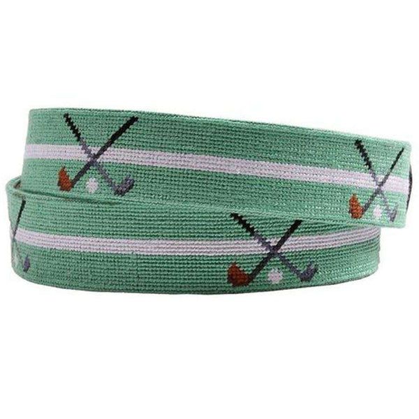 Crossed Clubs Needlepoint Belt in Mint by Smathers & Branson