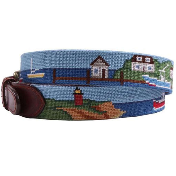 Harbor Scene Needlepoint Belt by Smathers & Branson