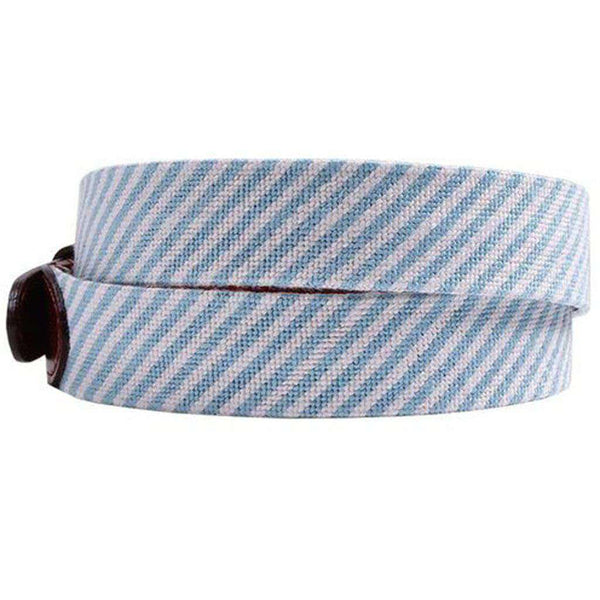 Blue Seersucker Needlepoint Belt by Smathers & Branson