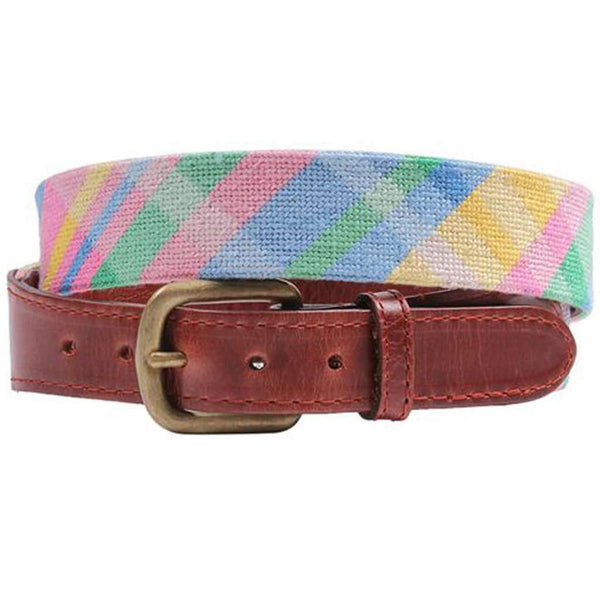 Spring Madras Needlepoint Belt by Smathers & Branson