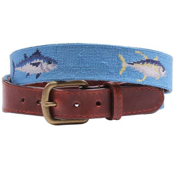 Tuna Needlepoint Belt in Cornflower Blue by Smathers & Branson