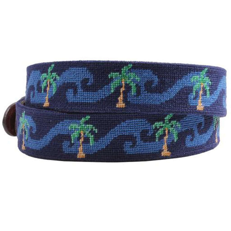Waving Palms Needlepoint Belt in Dark Navy by Smathers & Branson