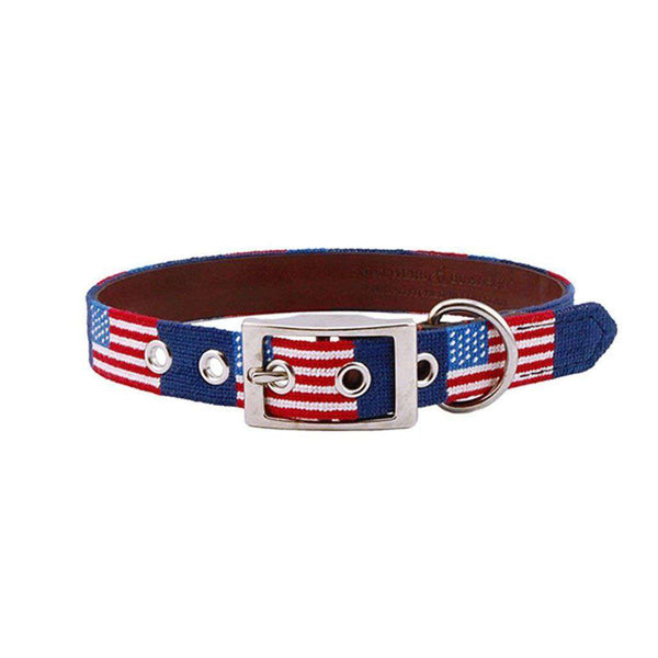 American Flag Needlepoint Dog Collar by Smathers & Branson