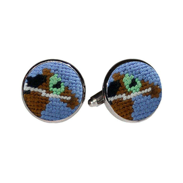 Smathers & Branson Derby Horse Needlepoint Cufflinks in Stream Blue