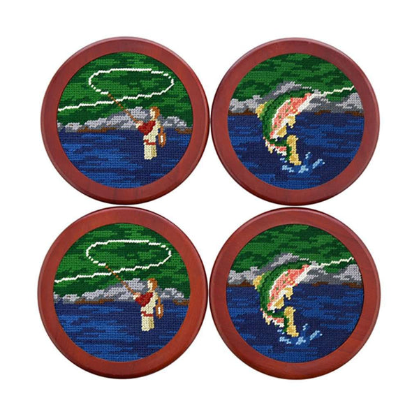 Fly Fishing Scene Needlepoint Coasters by Smathers & Branson