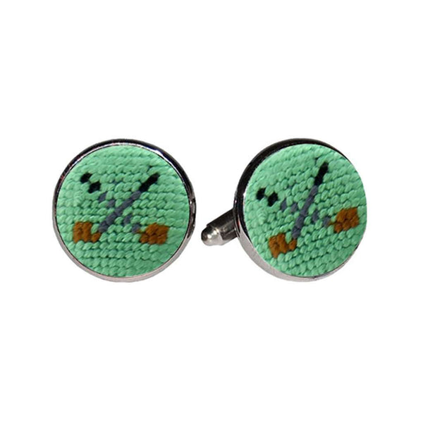 Golf Clubs Needlepoint Cufflinks in Mint by Smathers & Branson
