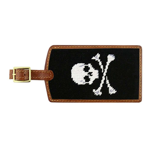 Smathers and Branson Jolly Roger Needlepoint Luggage Tag in Black by Smathers & Branson