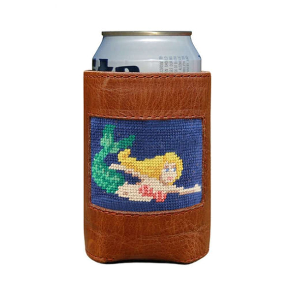 Smathers & Branson Mermaid Needlepoint Can Holder in Classic Navy