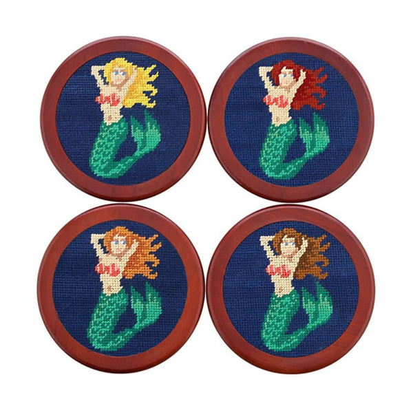 Smathers and Branson Mermaid Needlepoint Coasters in Classic Navy by Smathers & Branson