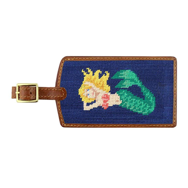 Mermaid Needlepoint Luggage Tag in Classic Navy by Smathers & Branson