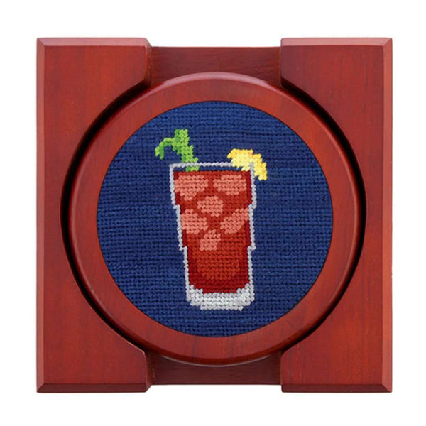 Morning Buzz Needlepoint Coasters in Classic Navy by Smathers & Branson