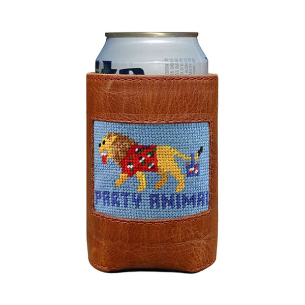 Party Animal Needlepoint Can Holder in Light Blue by Smathers & Branson