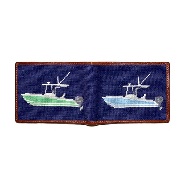Power Boat Needlepoint Wallet in Dark Navy by Smathers & Branson