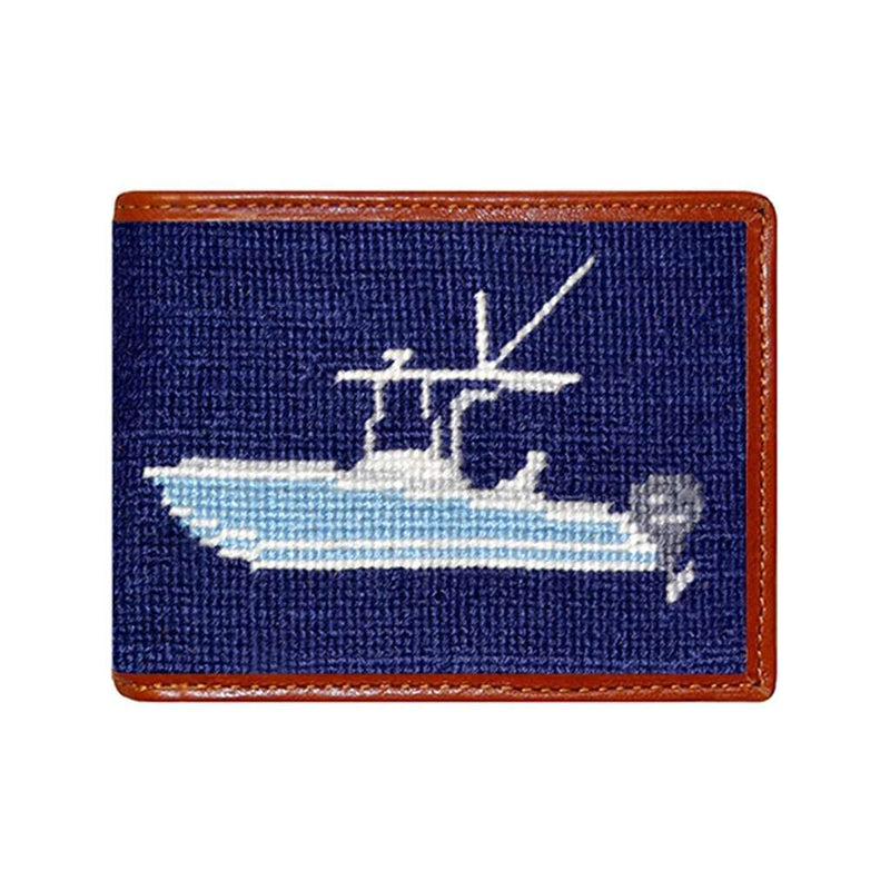 Smathers & Branson Power Boat Needlepoint Wallet in Dark Navy