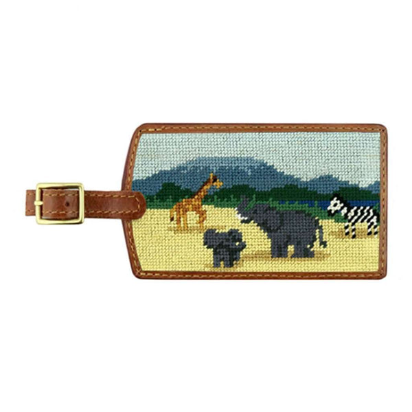 Safari Scene Needlepoint Luggage Tag by Smathers & Branson