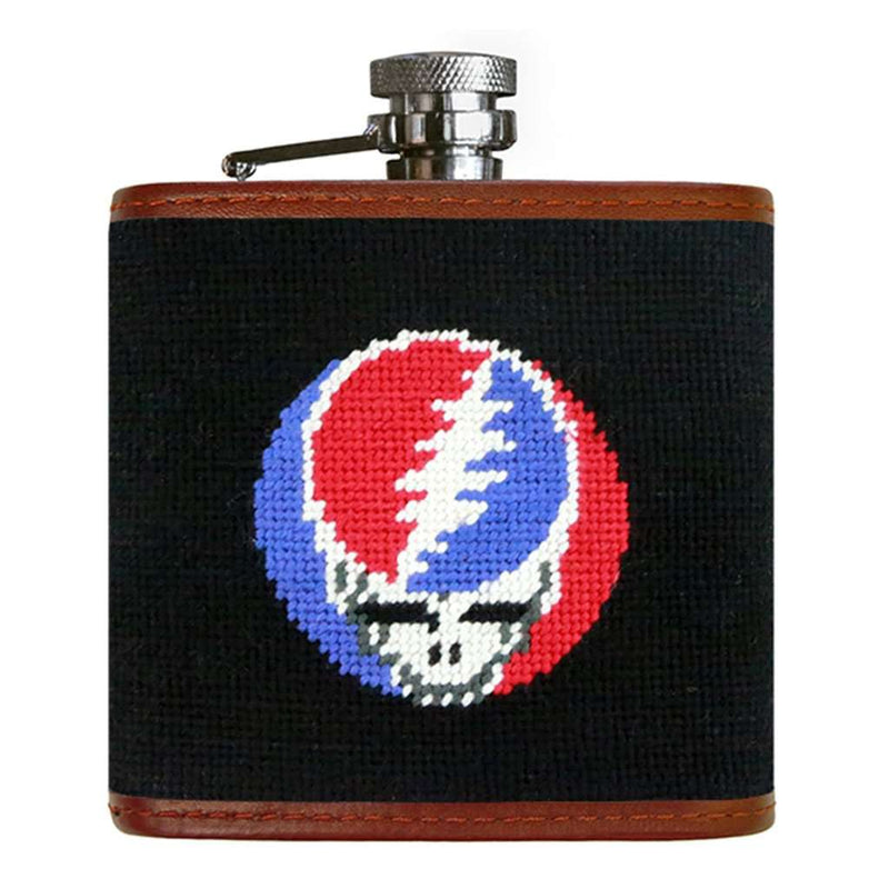 Steal Your Face Needlepoint Flask in Black by Smathers & Branson