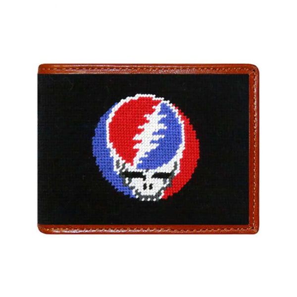 Smathers & Branson Steal Your Face Needlepoint Wallet in Black