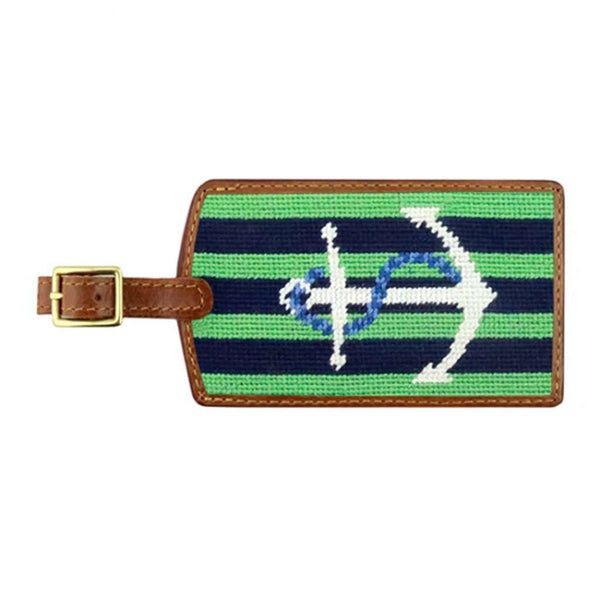 Striped Anchor Needlepoint Luggage Tag in Dark Navy & Mint by Smathers & Branson