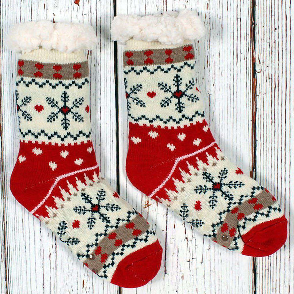 Nordic Fleece Christmas Sweater Sherpa Lined Socks by Nordic Fleece