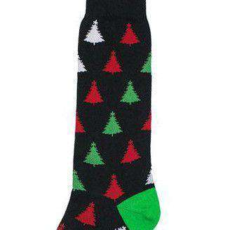 Men's Christmas Tree Socks in Black, Red, White, and Green by Byford